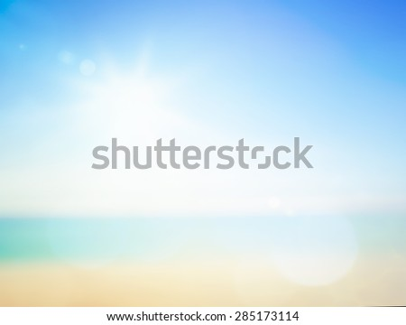 Blurred beautiful clear sea water and blue sky background. World Environment Day Ecology Vivid Ray Peaceful Nature Landscape Ocean Freedom Zen Spa Christmas Dream Blue Green Turquoise Peace concept. - stock photo