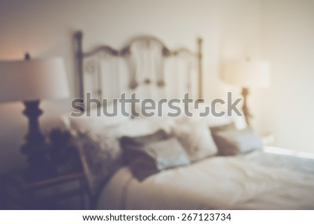 Blurred Bedroom with Bed applying Retro Instagram Style Filter - stock photo