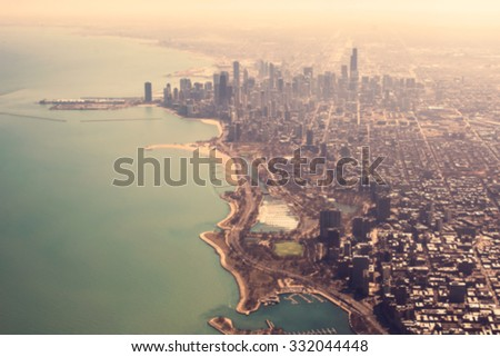 blurred  bird eye view from in vintage tone - stock photo