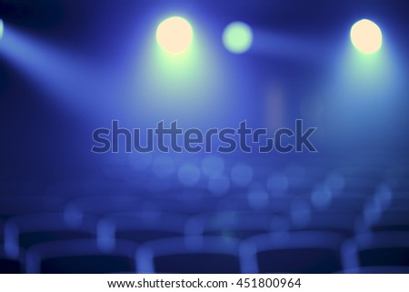 Blurred blue concert hall  - stock photo