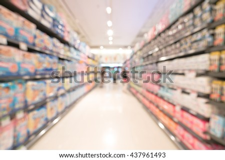 Blurred, bokeh background image of modern supermarket