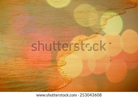 blurred bokeh background with beautiful sand beach.  - stock photo