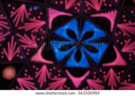 Blurred bokeh lights background, colourful led pattern