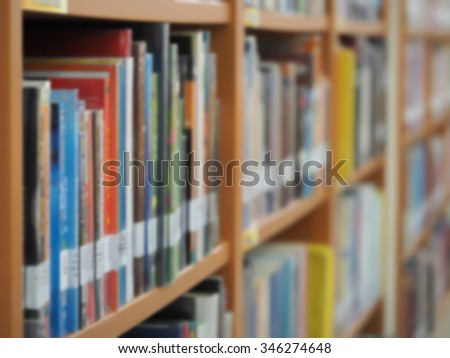 blurred bookshelf in library room education zone, book, book case