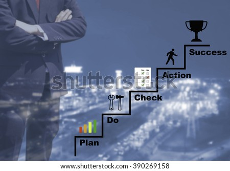 Blurred Business man success or teach working on marketing online or e learning by PDCA plan do check action concept on blur or blurred night city view blue tone background with corner light flare. - stock photo