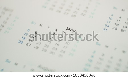 Blurred calendar in planning concept.