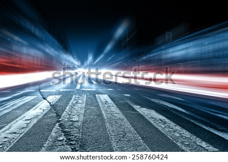 Blurred car lights, long exposure photo of traffic  - stock photo