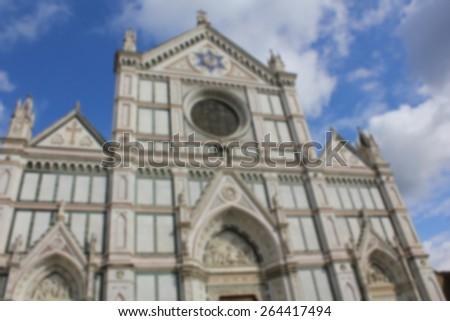 blurred church - stock photo