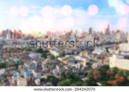 Blurred city background in the morning pale light - stock photo