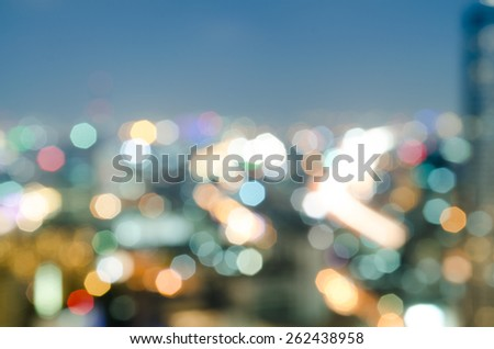 blurred cityscape with bokeh light background - stock photo