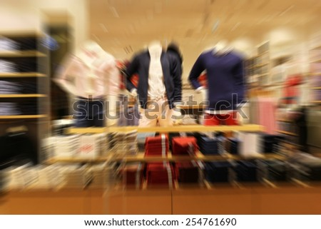 blurred cloth in shopping mall - stock photo