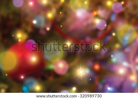 Blurred colorful christmas lights background  - stock photo