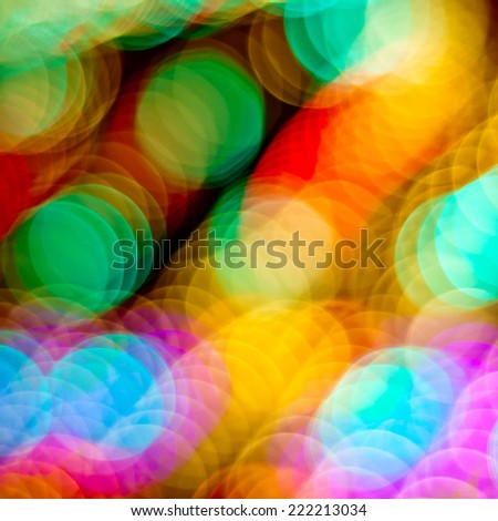 Blurred colorful lights background. Christmas defocused lights background. Bokeh sparkling lights. Abstract colorful background. - stock photo