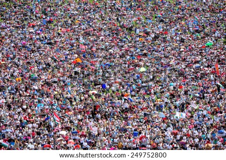 Blurred crowd of people background - stock photo
