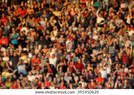 Blurred crowd of spectators in a stadium