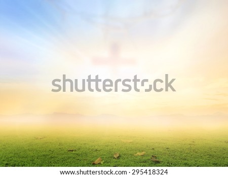 Blurred crown of thorn and cross on sunset background. Christmas Forgiveness Mercy Humble Repentance Reconcile Adoration Glorify Thanksgiving Redeemer Trust Hallelujah Blessing Amen Hosanna concept - stock photo