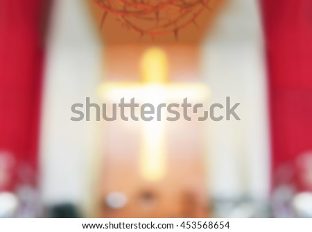 Blurred crown of thorn and the cross in the church background, Mercy Evangelical concept, Praise God concept, Defocus in church. - stock photo