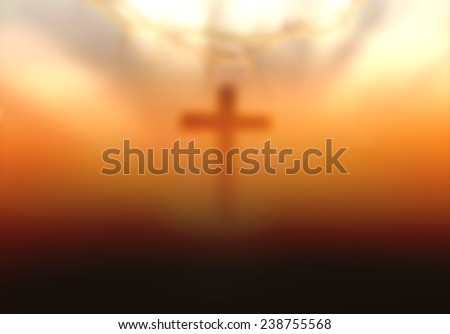 Blurred crown of thorns and the cross on sunset background. Christmas background, Worship, Forgiveness, Mercy, Humble, Repentance, Reconcile, Adoration, Glorify concept. - stock photo