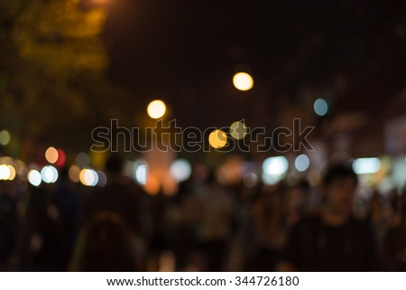Blurred De-focused and bokeh of tourists in Chiangmai, nightlife