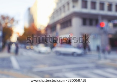 Blurred defocused abstract background of zebra crossing in urban business area - stock photo