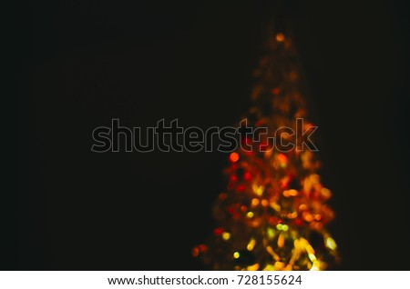 Blurred defocused background with bokeh effect of christmas tree