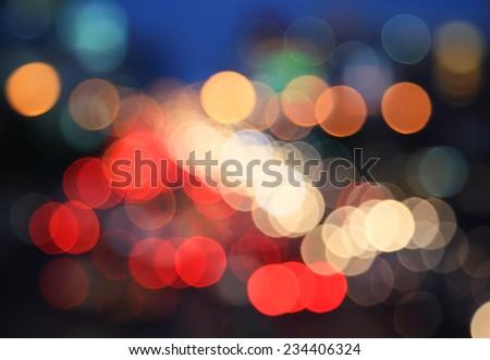 Blurred Defocused Lights of Bangkok capital city at twilight - stock photo