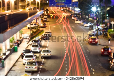 Blurred Defocused Lights of Heavy Traffic