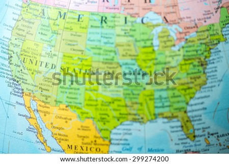 Blurred Unfocused Map View Usa On Stock Photo Shutterstock - Globe of usa