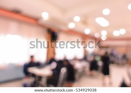 Blurred education people sitting in meeting room for profession seminar
