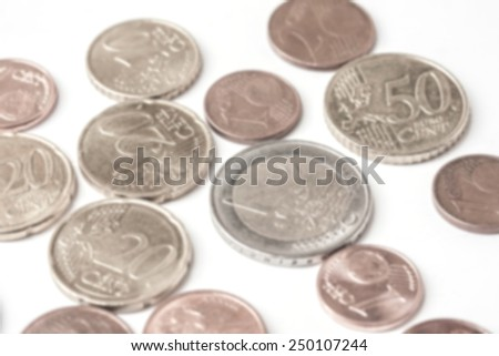 blurred Euro (EUR) coins money on white background, useful as a background or money concept  - stock photo