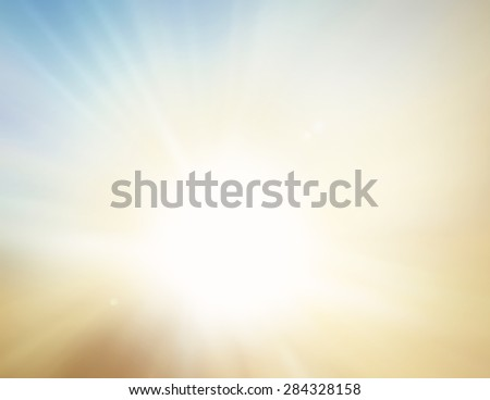 Blurred golden beach. Blue White Terrace View Sun Sand Sea Surf Rest Fresh Nature Resort Ray Glow Bokeh Flare Travel Zen Orange Shine Soft Cloud Bright Wave Relax Blurry Sunny Horizon Vintage concept. - stock photo