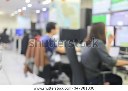 blurred group of students learning at computer laboratory computer room:people studying in technology department faculty.blur background education/technology concept.training course for programing job - stock photo