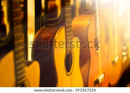blurred guitars collection for background - stock photo