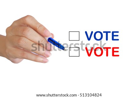 blurred hand writing with blue pen selective focus on the pen head with election vote