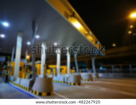 Blurred Highway Toll, Payment Gate Without Car At Night