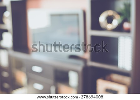 Blurred Home Entertainment Center with Retro Instagram Style Filter - stock photo