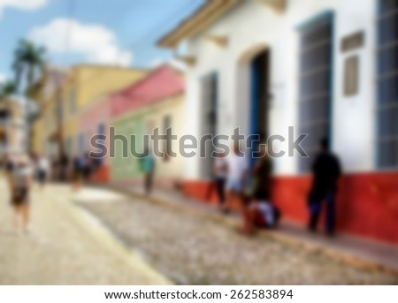 blurred image from a streetscene on a tropical island  - stock photo