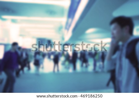 Blurred image of business people walking, Blur abstract background for business concept