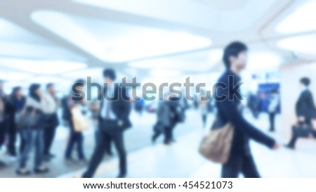 Blurred image of business people walking, Blur abstract background for business concept, cool tone color effected