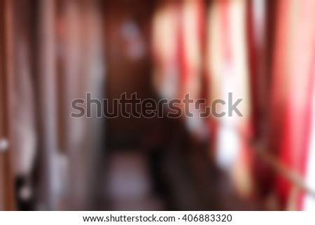 Blurred image of corridor in the compartment car - stock photo