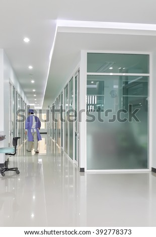blurred image of dental clinic corridor