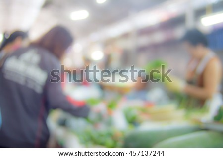 blurred image of lifestyle people in fresh market use for background