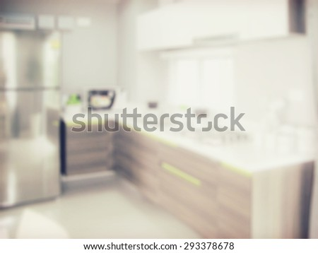 blurred image of modern kitchen interior for background - stock photo