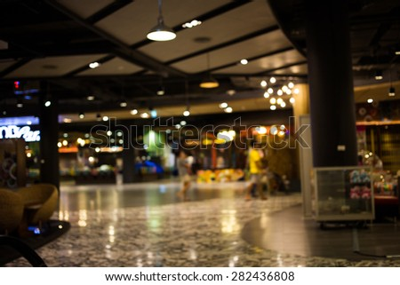 Blurred image of shopping mall and bokeh background.