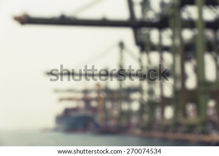 Blurred image of  Singapore industrial port - stock photo