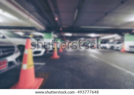 Blurred image of the parking lot in department.