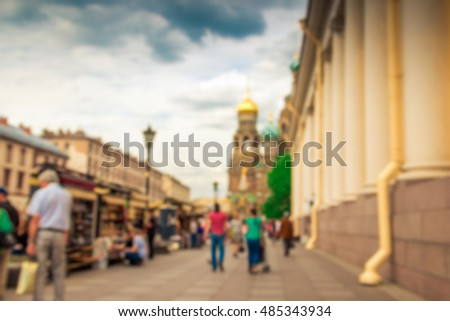 Blurred image of the street. St. Petersburg, Russia.