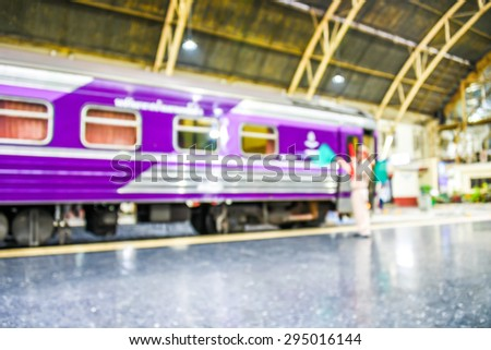 blurred image of  trains at Hualumpong station in Bangkok Thailand - stock photo