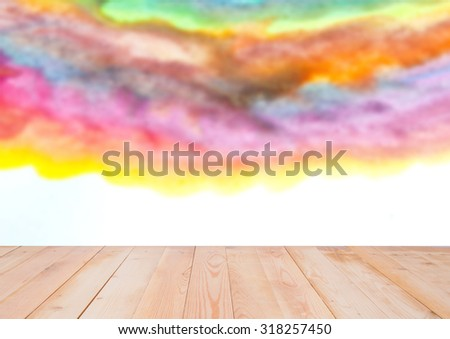 Blurred image of watercolor illustration, wooden background      - stock photo