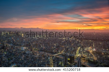 Blurred image with sunset tokyo city landscape from tokyo sky tree tokyo japan